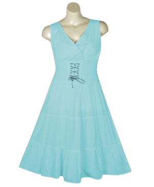 Turquoise Lace Up Maxi Dress
