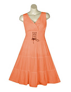 Coral Lace Up Maxi Dress by Mlle Gabrielle