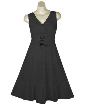 Black Lace Up Maxi Dress