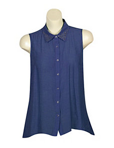 Blue Stately Studs Top by Mlle Gabrielle