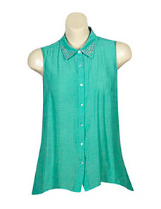 Green Stately Studs Top by Mlle Gabrielle