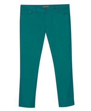 Five Pocket Sea Green Colored Jeans