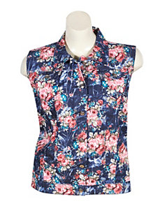 Floral Denim Vest by Exocet