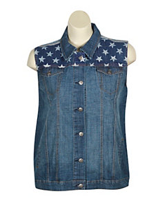 Flag Denim Vest by Exocet