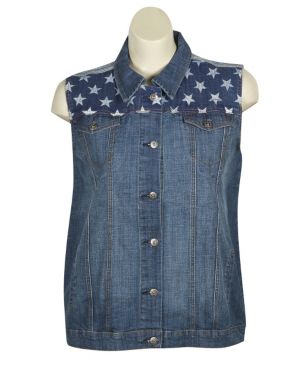 Flag Denim Vest