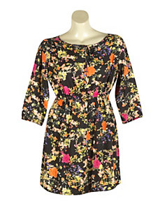 Black Floral Fun Dress by Apollo