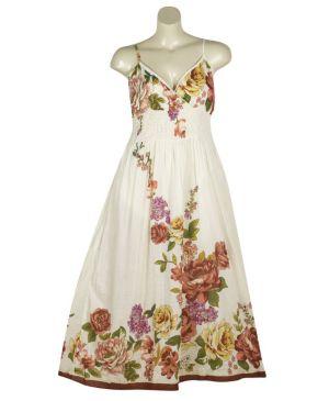 White Fun Floral Maxi Dress