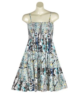 Turquoise Mixed Print Dress