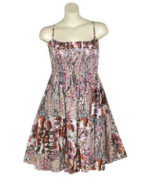 Fuchsia Mixed Print Dress