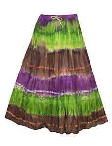 Green Tie Dye Skirt by Pink Apple
