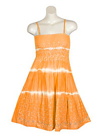 Orange Smock Dress With Jewels by Pink Apple
