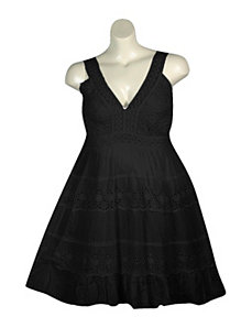 Black Eyelet Dress by Pink Apple