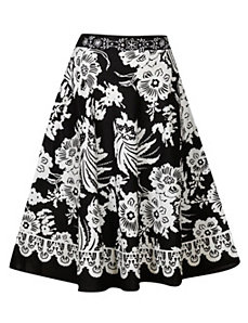 Black & White Full Sweep Skirt by Pink Apple