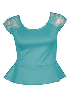 Lace Peplum Top by NaNa