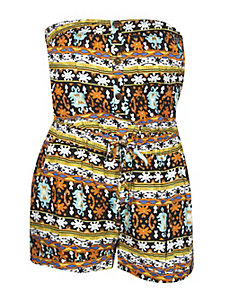 Orange Print Romper by NaNa