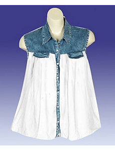 Denim Trim Top by Fashion Web
