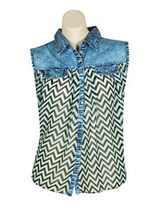 Mint Denim Trim Top by Fashion Web