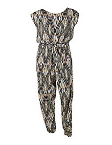 Tan Belted Jumpsuit by Fashion Web