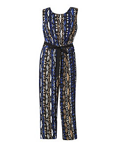 Blue Aztec Print Jumpsuit by Fashion Web