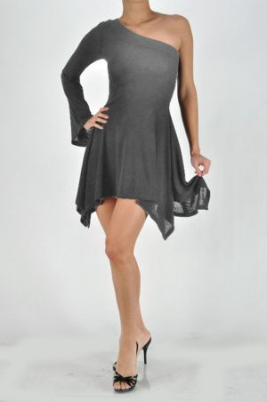 Dark Gray One Shoulder Dress