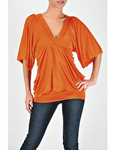 Orange V Neck Top by Fashion Love