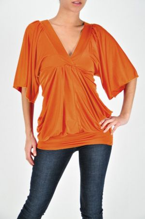 Orange V Neck Top