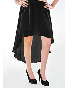 Black Hello Hi Low Skirt by Fashion Love