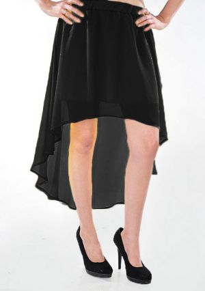 Black Hello Hi Low Skirt