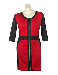 Red Color Block Dress by Fashion Love