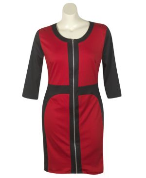 Red Color Block Dress