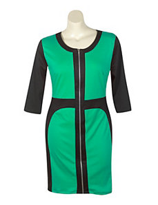 Jade Color Block Dress by Fashion Love