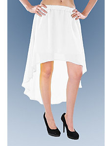 White Hello Hi Low Skirt by Fashion Love