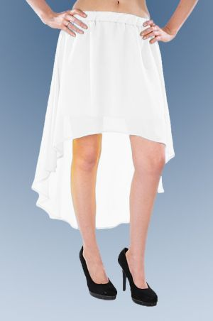White Hello Hi Low Skirt