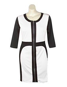 Black & White Color Block Dress by Fashion Love