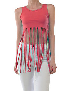 Coral Free Fringe Top by Fashion Love