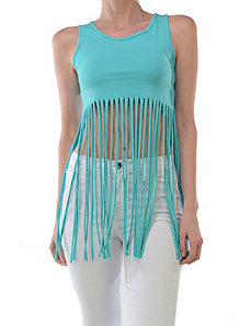 Mint Free Fringe Top by Fashion Love