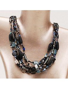 Blue Glam 6 Strand Necklace by Marlene's Jewels