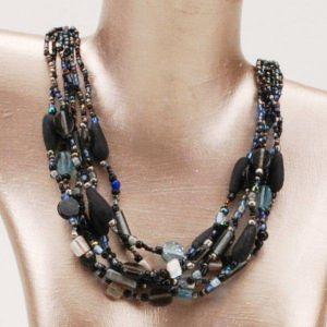 Blue Glam 6 Strand Necklace