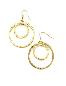 Gold Double Circle Earrings by Marlene's Jewels