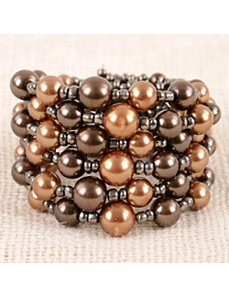 Bronze Pearl Bead Cuff by Marlene's Jewels
