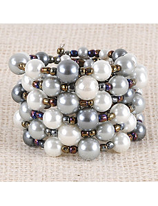 Misty Pearl Bead Cuff by Marlene's Jewels