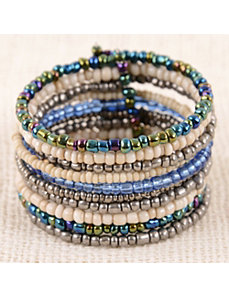 Denim Bold Bead Cuff by Marlene's Jewels