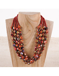 Red Spin Art Pebble Necklace by Marlene's Jewels