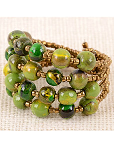 Green Spin Art Pebble Cuff by Marlene's Jewels