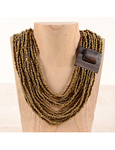 Wood Buckle Necklace by Marlene's Jewels