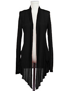 Black Sheer Draped Cardigan by Active Basic