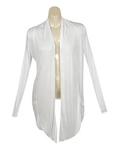 White Sheer Draped Cardigan by Active Basic