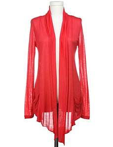 Red Sheer Draped Cardigan by Active Basic