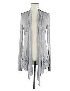 Heather Grey Sheer Draped Cardigan by Active Basic