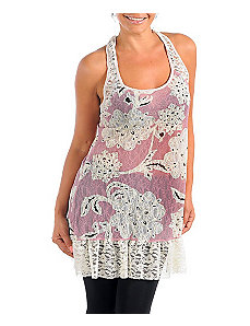 Pink Floral Vines Tunic by Janette